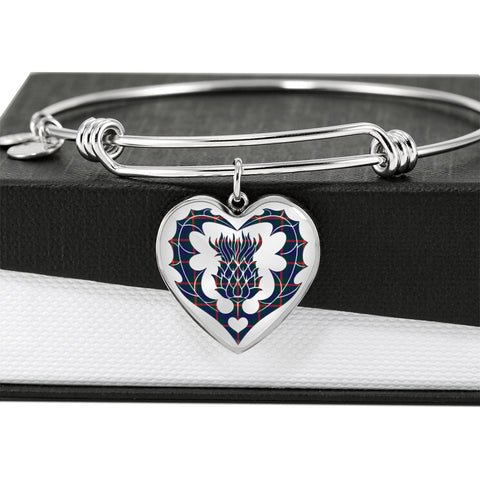 Image of Agnew Modern Tartan Bangle Thistle Heart Shape