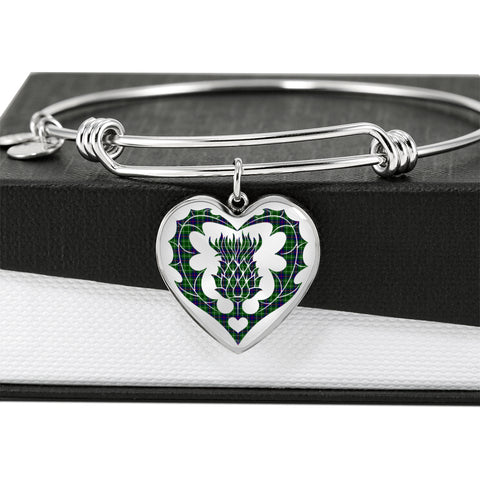 Duncan Modern Tartan Bangle Thistle Heart Shape