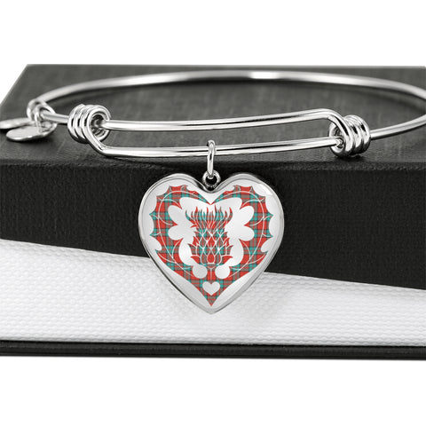 Dunbar Ancient Tartan Bangle Thistle Heart Shape