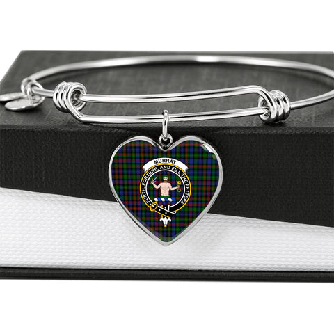 Murray of Atholl Modern Tartan Crest Heart Bangle