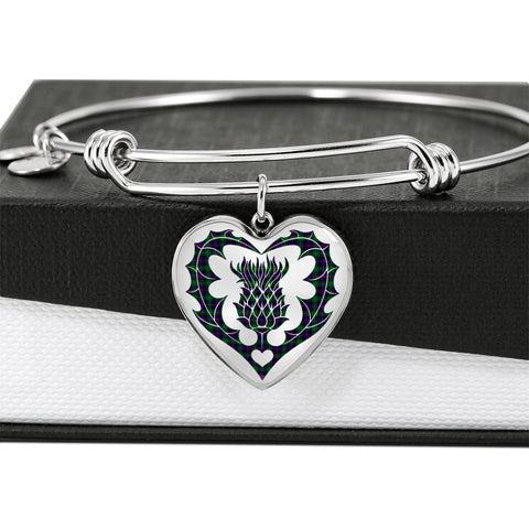 Image of Campbell of Cawdor Modern Tartan Bangle Thistle Heart Shape