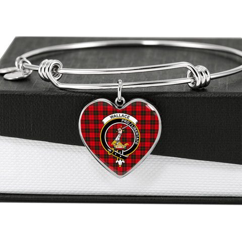 Image of Wallace Weathered Tartan Crest Heart Bangle