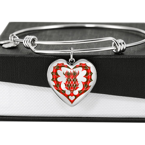 Cameron Modern Tartan Bangle Thistle Heart Shape
