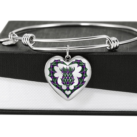 Armstrong Modern Tartan Bangle Thistle Heart Shape