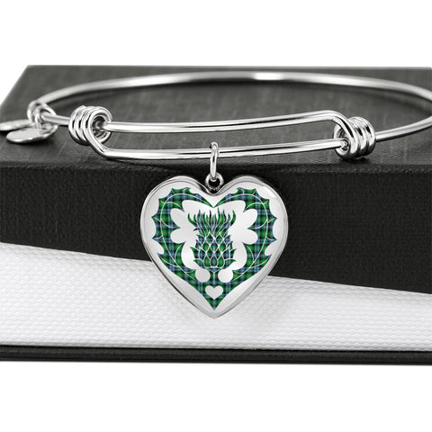 Image of Arbuthnot Ancient Tartan Bangle Thistle Heart Shape