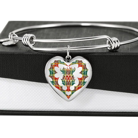 Image of Buchanan Old Sett Tartan Bangle Thistle Heart Shape