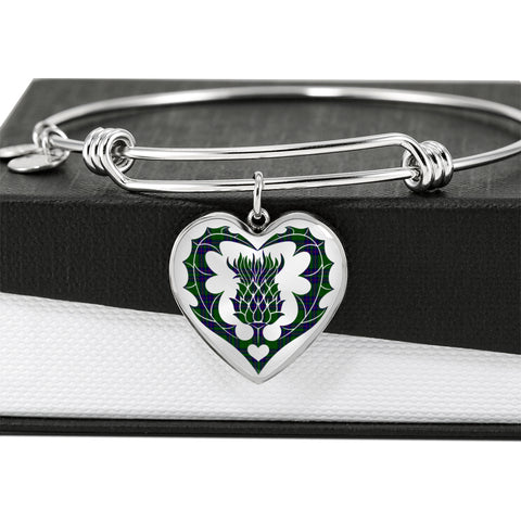 Lockhart Modern Tartan Bangle Thistle Heart Shape