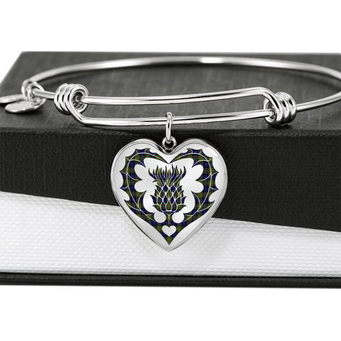 MacLaren Modern Tartan Bangle Thistle Heart Shape