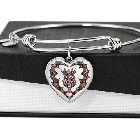 Image of Cameron of Erracht Weathered Tartan Bangle Thistle Heart Shape