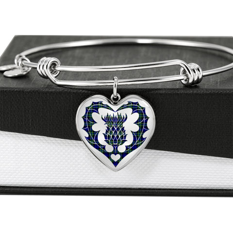 Image of Arbuthnot Modern Tartan Bangle Thistle Heart Shape