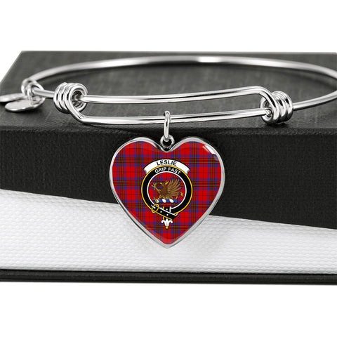 Image of Leslie Modern Tartan Crest Heart Bangle