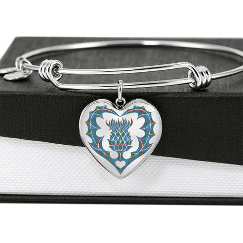 Image of Agnew Ancient Tartan Bangle Thistle Heart Shape