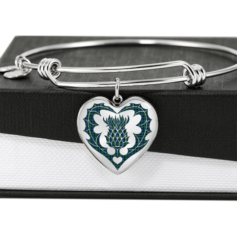 Image of Campbell Ancient 02 Tartan Bangle Thistle Heart Shape