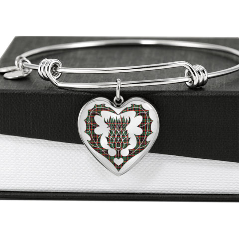 Cumming Hunting Ancient Tartan Bangle Thistle Heart Shape