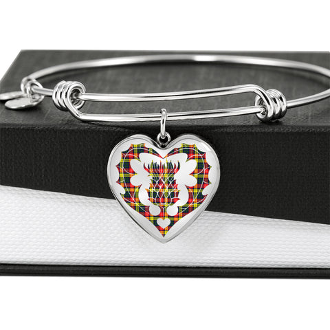Buchanan Modern Tartan Bangle Thistle Heart Shape