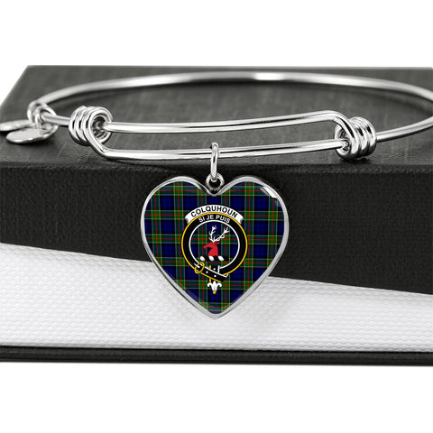 Colquhoun Modern  Tartan Crest Heart Bangle