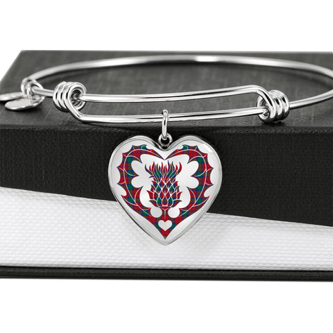 Lindsay Modern Tartan Bangle Thistle Heart Shape