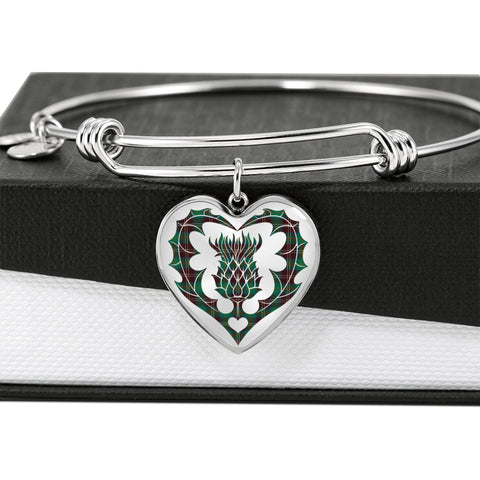 Image of Chisholm Hunting Ancient Tartan Bangle Thistle Heart Shape