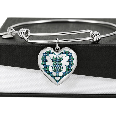 Campbell Ancient 01 Tartan Bangle Thistle Heart Shape