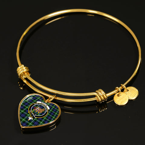 Baillie Modern  Tartan Crest Heart Bangle