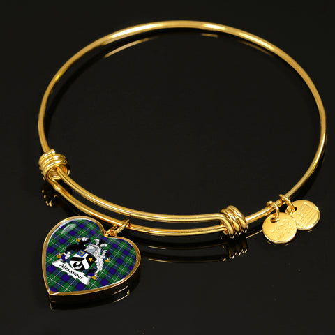 Alexander Tartan Crest Heart Bangle