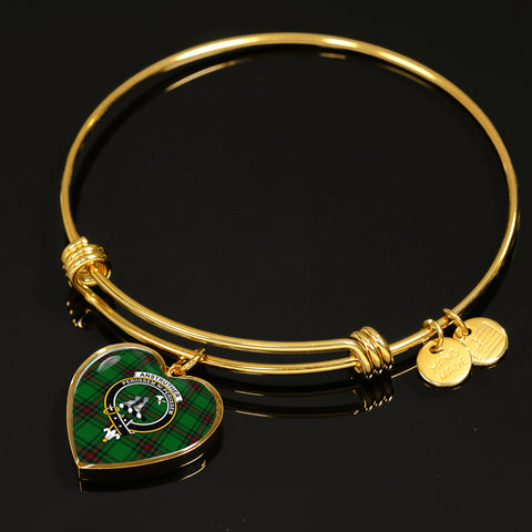 Anstruther  Tartan Crest Heart Bangle HJ4