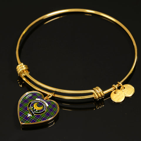 Image of Arnott Tartan Crest Heart Bangle HJ4