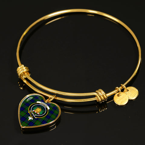 Dundas Modern  Tartan Crest Heart Bangle HJ4