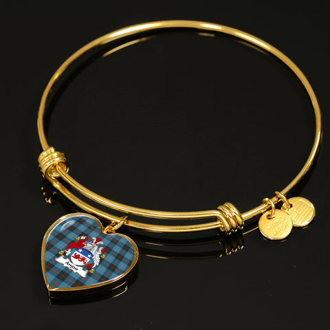 Angus Ancient Tartan Crest Heart Bangle HJ4