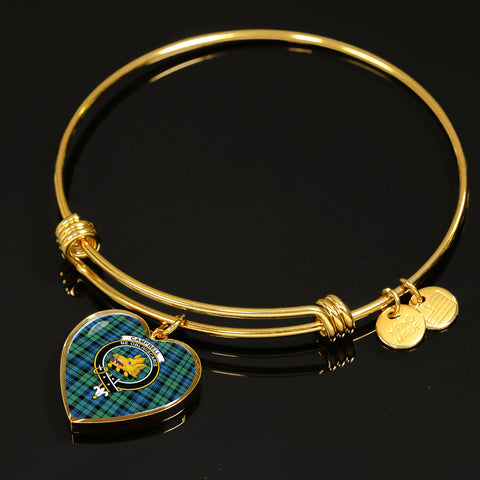Campbell Ancient 01  Tartan Crest Heart Bangle HJ4