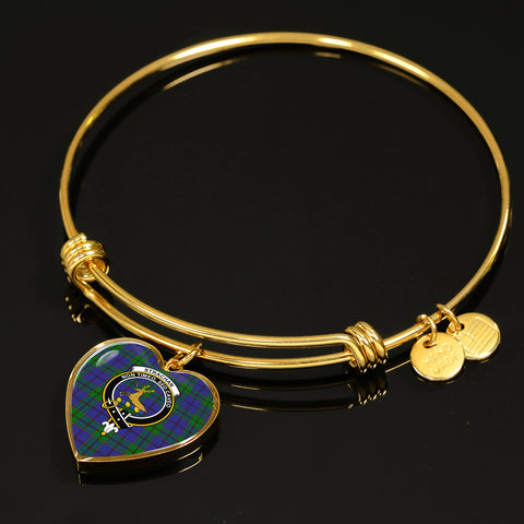 Image of Strachan  Tartan Crest Heart Bangle HJ4