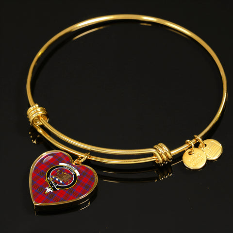 Image of Leslie Modern Tartan Crest Heart Bangle HJ4