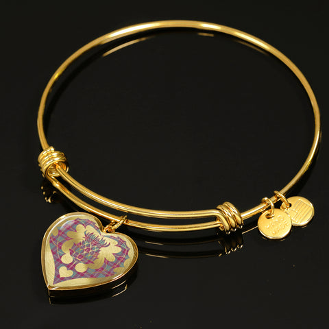 Crawford Ancient Tartan Bangle Thistle Heart Shape TH8
