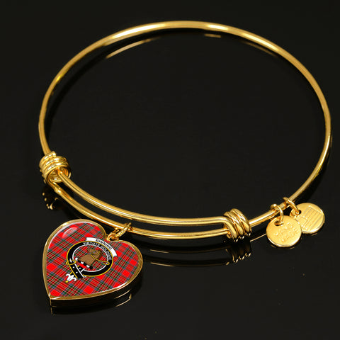 Binning Tartan Crest Heart Bangle