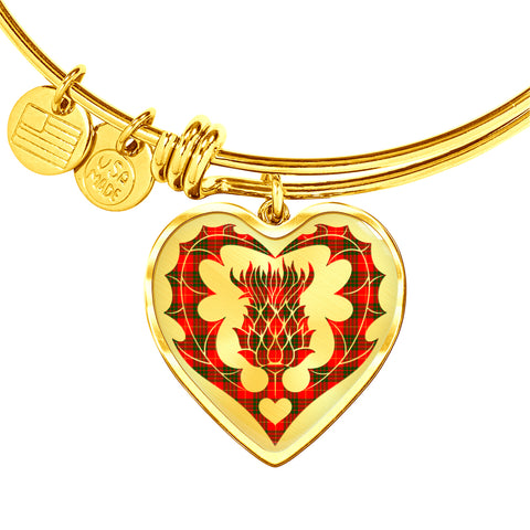 Cameron Modern Tartan Bangle Thistle Heart Shape TH8