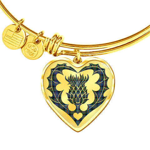 Image of Cameron of Erracht Ancient Tartan Bangle Thistle Heart Shape TH8