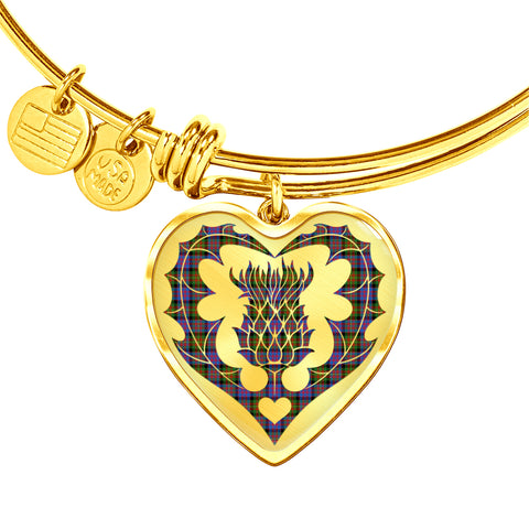 Image of Carnegie Ancient Tartan Bangle Thistle Heart Shape TH8