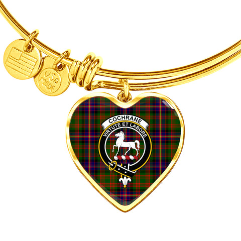 Cochrane Modern  Tartan Crest Heart Bangle HJ4