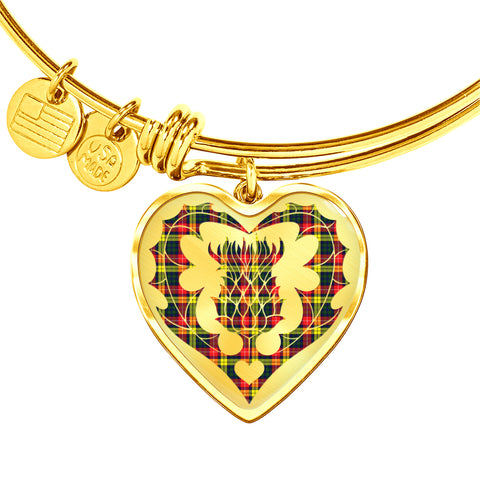 Image of Buchanan Modern Tartan Bangle Thistle Heart Shape TH8
