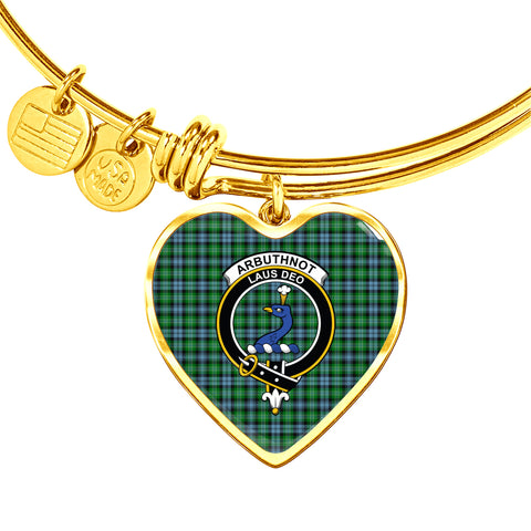 Arbuthnott  Tartan Crest Heart Bangle HJ4
