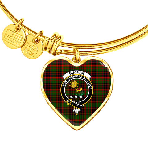 Buchan Modern  Tartan Crest Heart Bangle HJ4