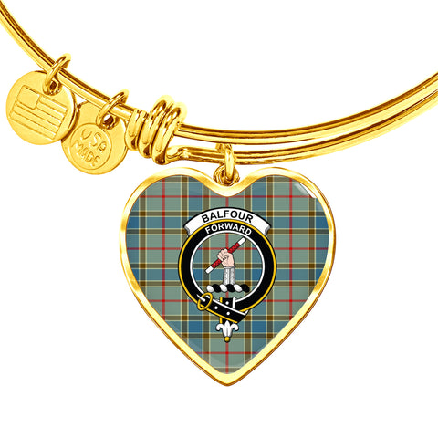 Balfour Blue  Tartan Crest Heart Bangle
