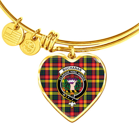 Image of Buchanan Modern  Tartan Crest Heart Bangle HJ4