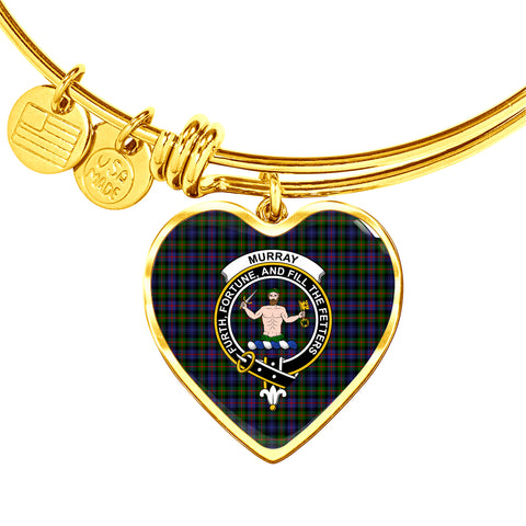 Murray of Atholl Modern Tartan Crest Heart Bangle HJ4