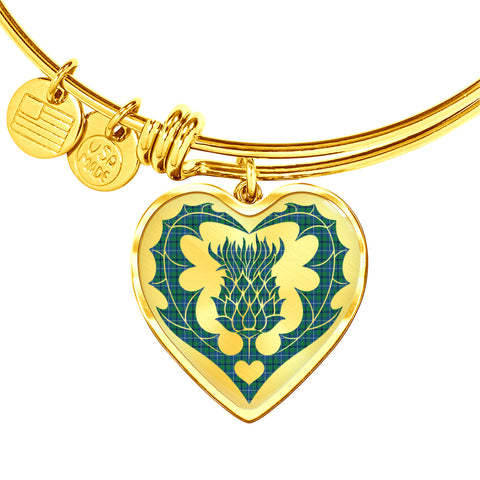 Image of Douglas Ancient Tartan Bangle Thistle Heart Shape TH8