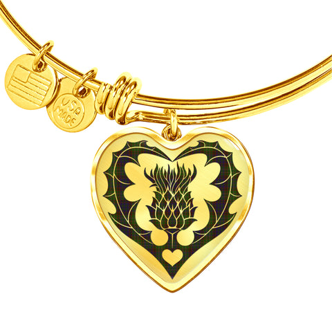 Image of Cunningham Hunting Modern Tartan Bangle Thistle Heart Shape TH8