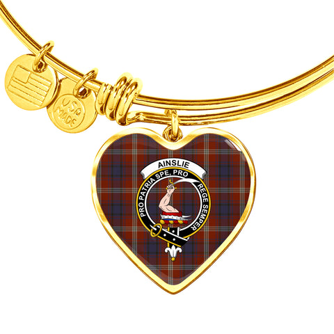 Ainslie Tartan Crest Heart Bangle HJ4