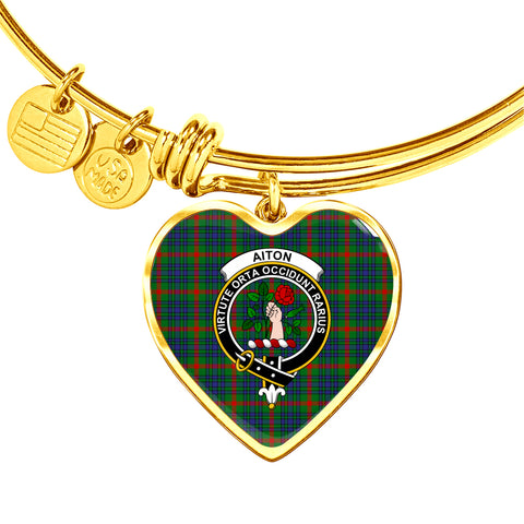 Image of Aiton Tartan Crest Heart Bangle HJ4