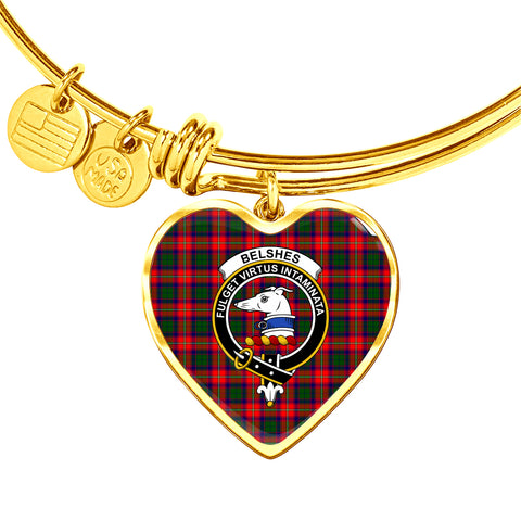 Belshes  Tartan Crest Heart Bangle