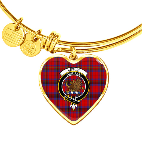 Leslie Modern Tartan Crest Heart Bangle HJ4